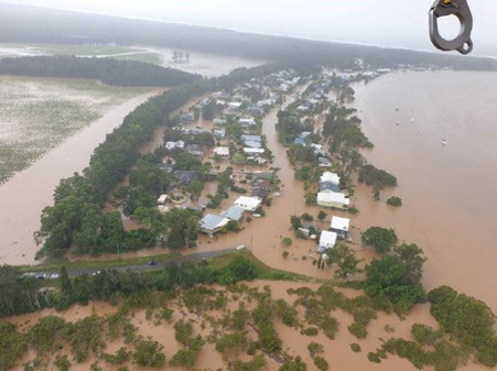 Flooded Main Camp Heritage farm on the north bank of Port Macquarie
